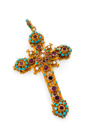 An antique gem-set cross pendant,