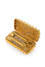An early 20th century silver gilt turquoise necessaire,  by Thornhill,