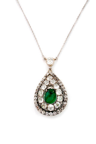An emerald and diamond pendent necklace