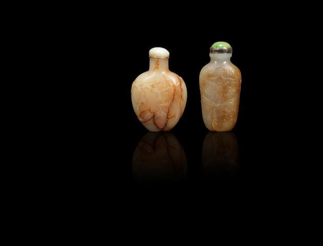 Two russet jade snuff bottles Early Qing dynasty