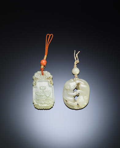 Two jade 'badger and lotus' plaque Qing dynasty