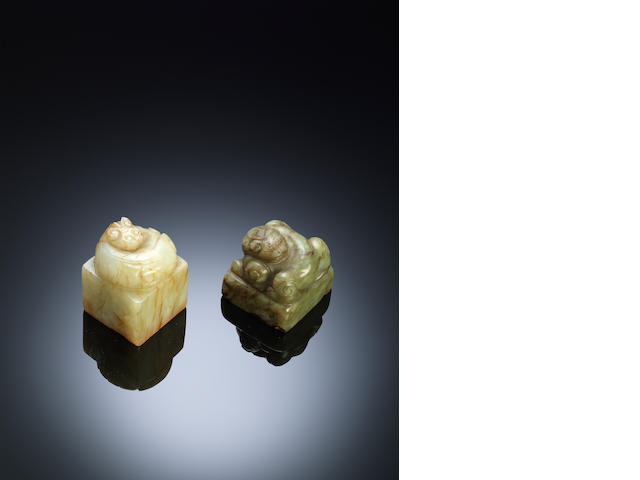 Two square jade 'chi dragon' seals Qing dynasty