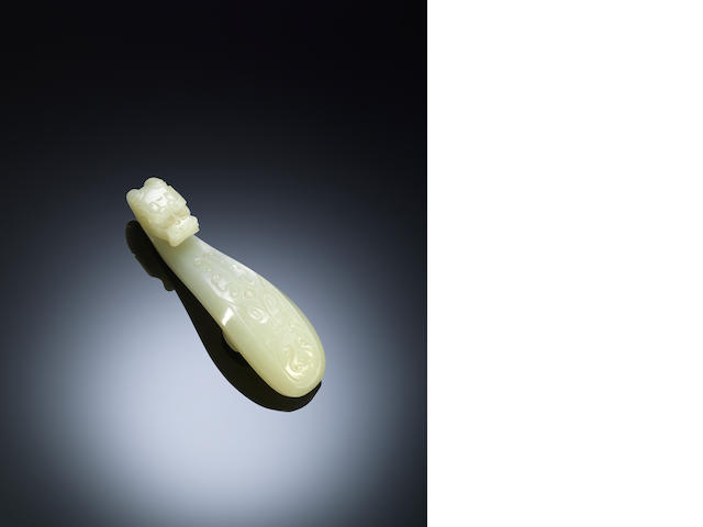 A white jade 'archaistic dragon' belt hook Mid Qing dynasty
