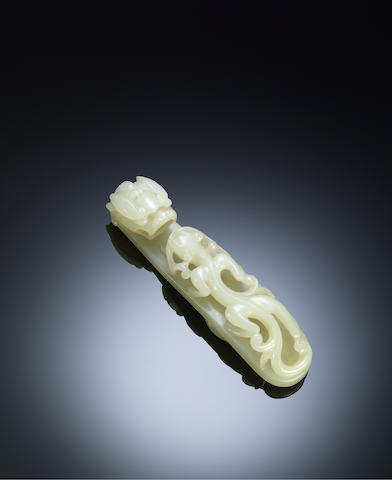 A large white jade 'chi dragon' belt hook Qing dynasty