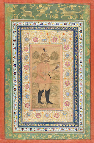 A Safavid nobleman standing in a landscape, signed by Shaykh 'Abbasi Persia, dated AH 1071/AD 1660-61(2)