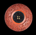 An Imperial cinnabar lacquer 'six dragons' bowl Qianlong