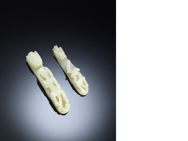Two white jade 'chi dragon' belt hooks Qing dynasty