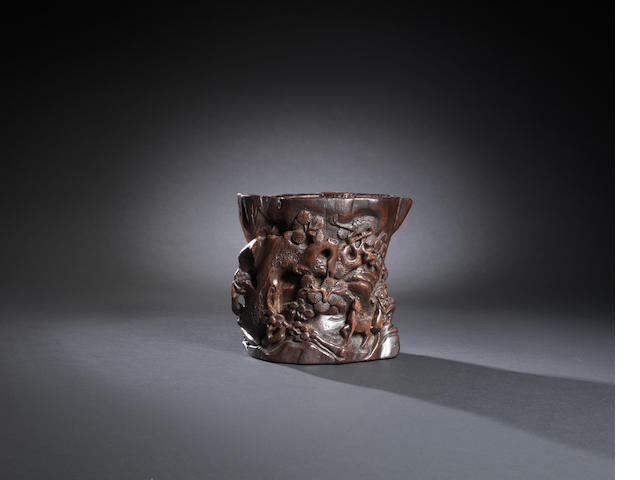 A chenxiangmu 'deer and crane' brushpot Qing dynasty