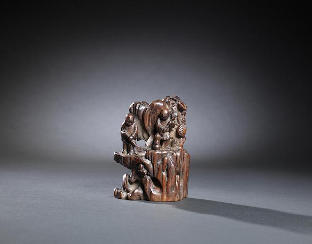 A chenxiangmu 'Hehe Erxian' carving Qing dynasty