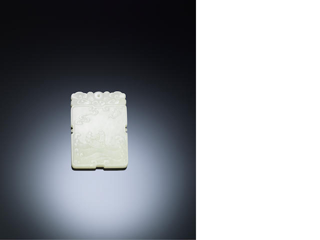 A white jade 'fisherman' plaque Mid Qing dynasty