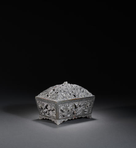 A rectangular bronze 'dragon' incense burner and cover Ming dynasty