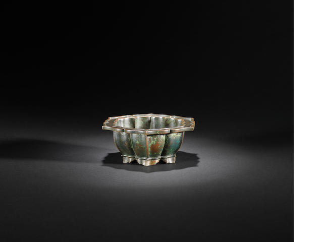 A hexagonal barbed bronze incense burner Ming dynasty