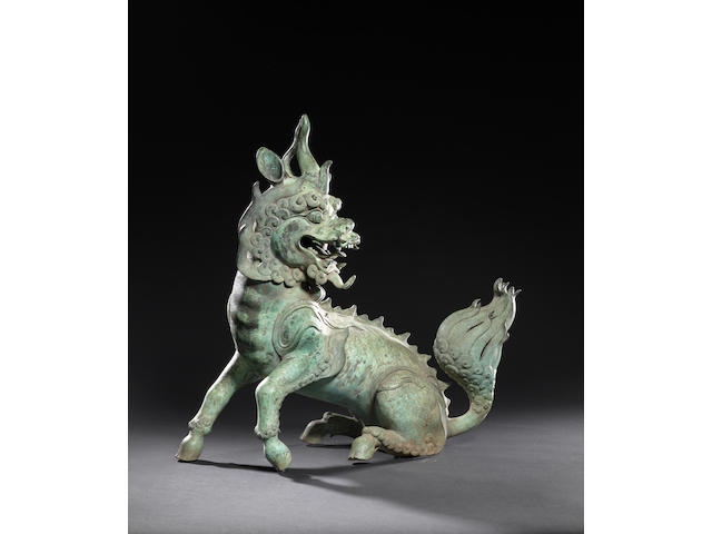 A large bronze 'qilin' incense burner and cover Late Ming / early Qing dynasty