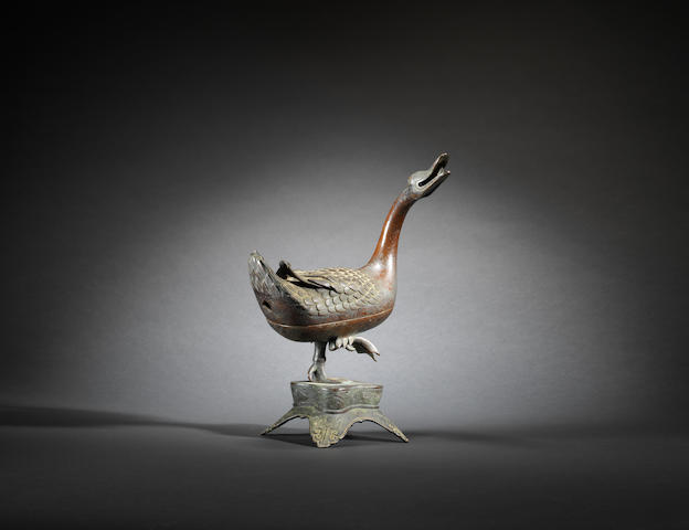 A bronze 'goose' incense burner and cover Mid Ming dynasty
