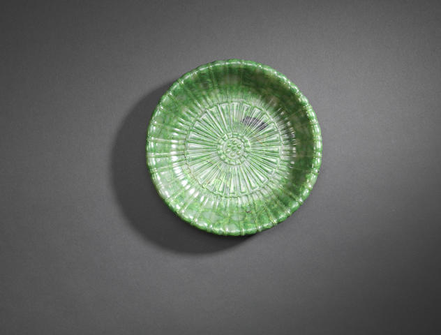 A spinach green jade Mughal-style dish Qianlong