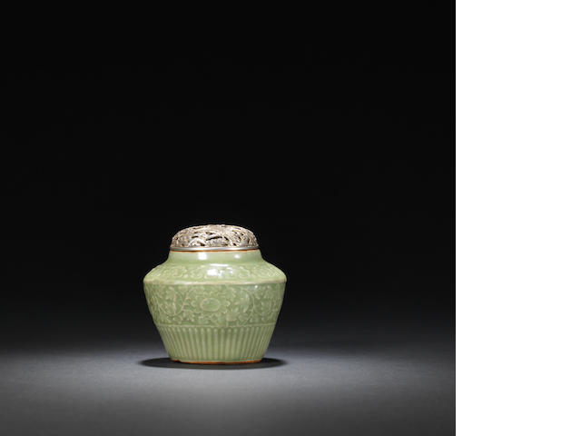 A small Longquan 'guan' incense burner and cover Early Ming dynasty
