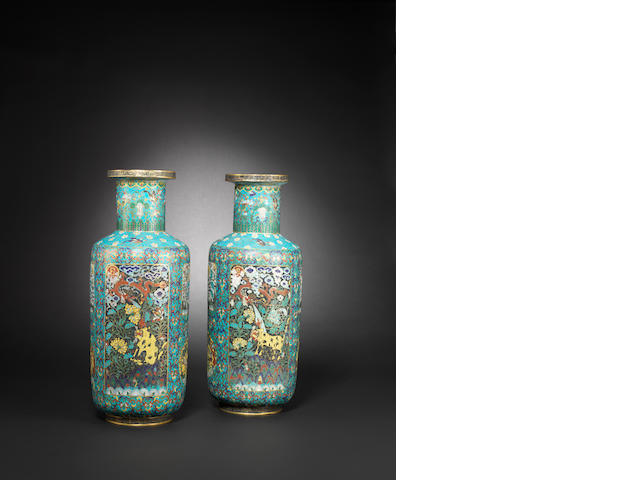 A pair of gilt-bronze and cloisonné-enamel vases Late Qing dynasty