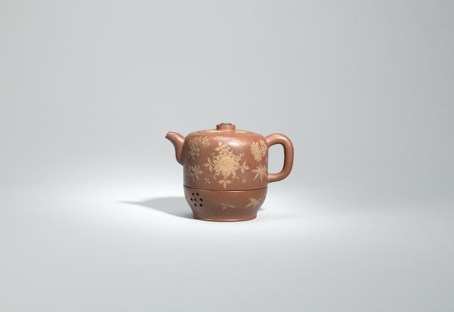 An Yixing warming teapot and warming vessel Late Qing dynasty