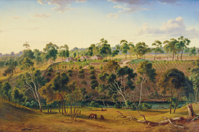 Eugene von Guerard (1811-1901) The farm of Mr Perry on the Yarra 1855