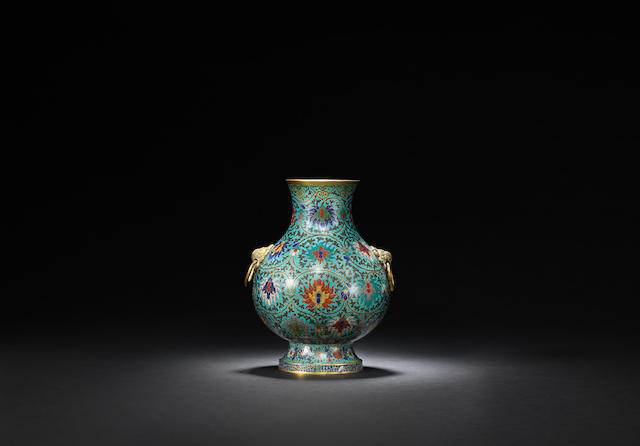 A gilt-bronze and cloisonné-enamelled hu Kangxi