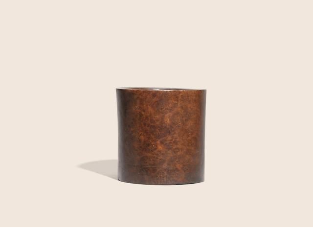 A burlwood brushpot  Qing dynasty