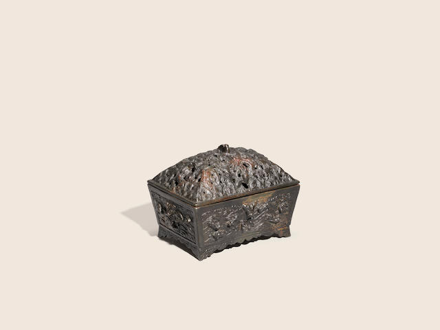 A bronze rectangular incense burner and pierced cover Early Ming dynasty