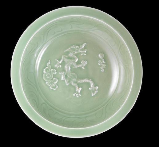 A Longquan celadon 'dragon' dish Yuan dynasty