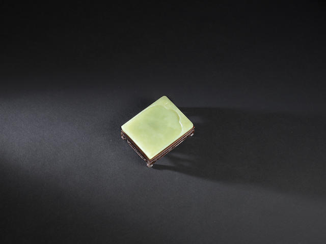 A yellow jade 'bats and longevity' inkstone Early Qing dynasty
