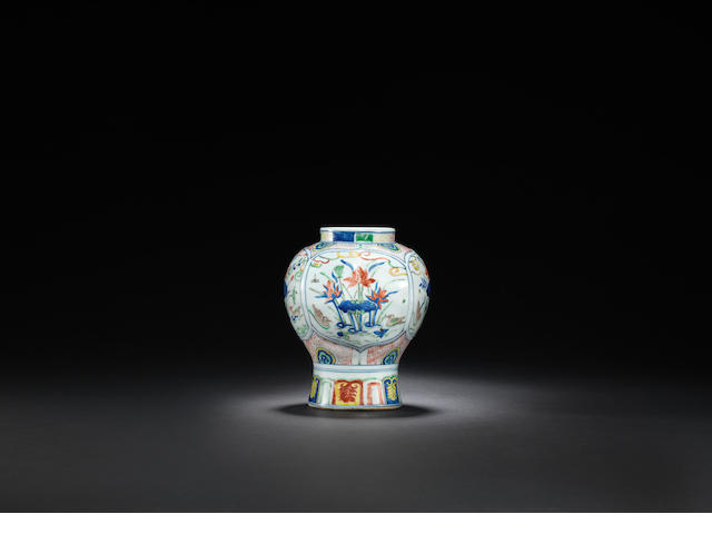 A rare octagonal wucai 'mandarin ducks and lotus' jar Tianqi four-character mark and of the period