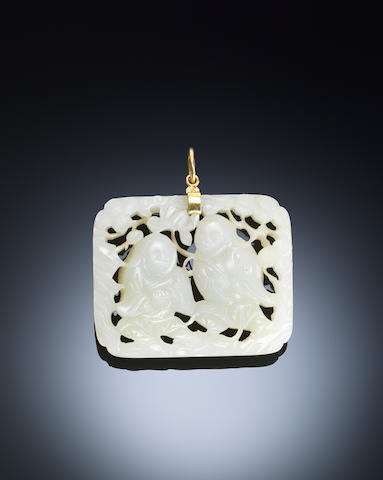A white jade 'Hehe Erxian' belt plaque Early Qing dynasty