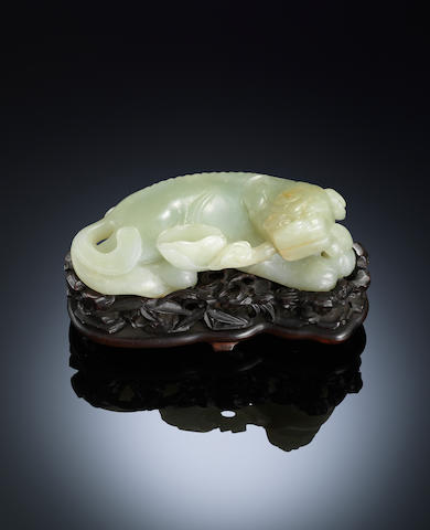 A pale green jade mythical beast Qianlong