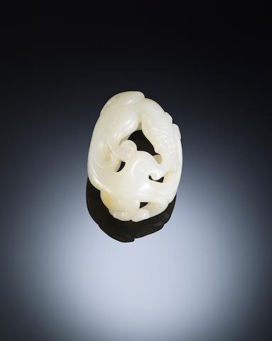 A white jade 'chi dragon' handling piece Qianlong
