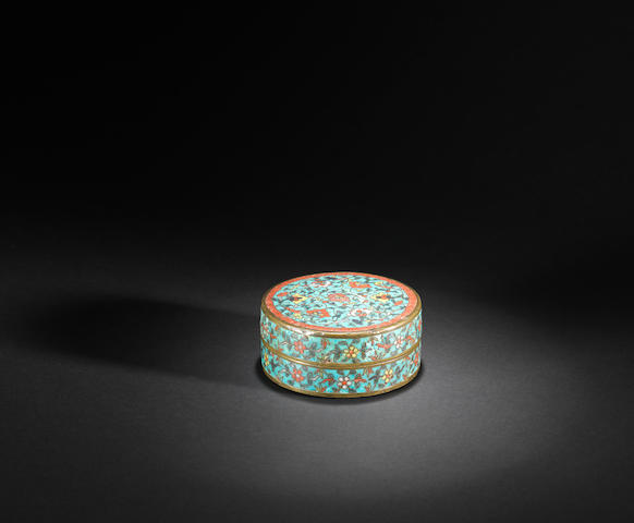 An extremely rare cloisonné-enamelled circular box and cover Wanli six-character mark and of the period