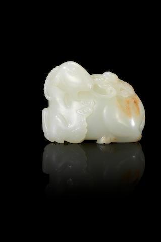 A fine white jade 'taiji' ram  Qianlong