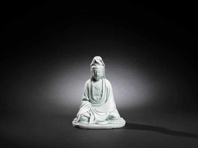 A finely modelled Dehua figure of Guanyin Qianlong