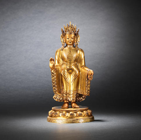 A magnificent and extremely rare gilt-lacquered bronze figure of Dipankara Buddha Qianlong