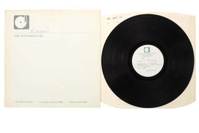 Queen: An acetate recording of the album 'Sheer Heart Attack', 1974,