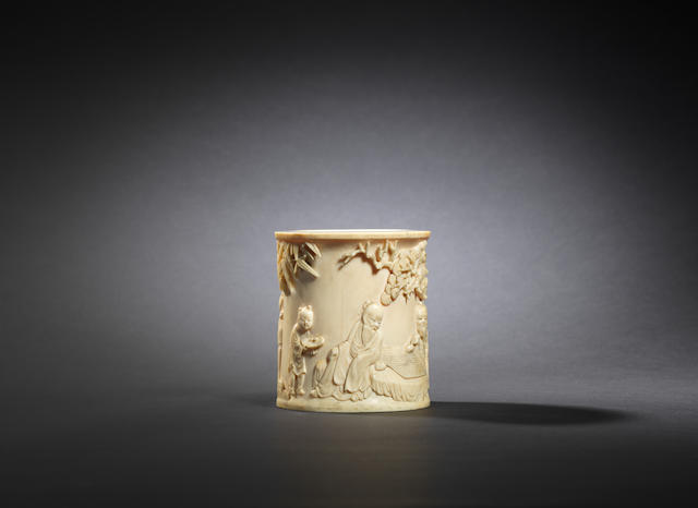 An ivory 'pine and bamboo grove' brushpot Early Qing dynasty