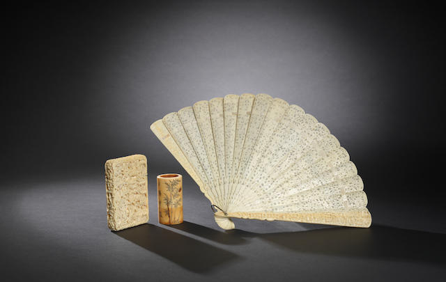 A small ivory brushpot, fan, card case and cover Mid Qing / Late Qing dynasty