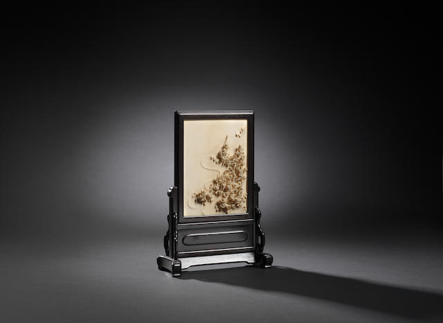 An ivory 'eighteen luohan' table screen  Qianlong, attributed to Yang Weizhan
