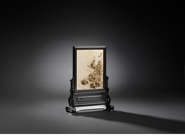 An ivory 'eighteen luohan' table screen  Qianlong, attributed to Yang Weizhan