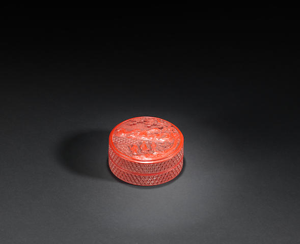 A circular lacquer 'Immortal' box and cover Qianlong
