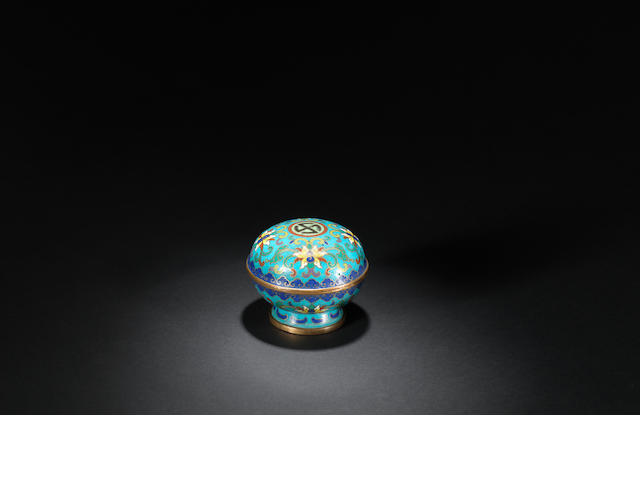 A gilt-bronze and cloisonné-enamelled 'wan' box and cover Qianlong
