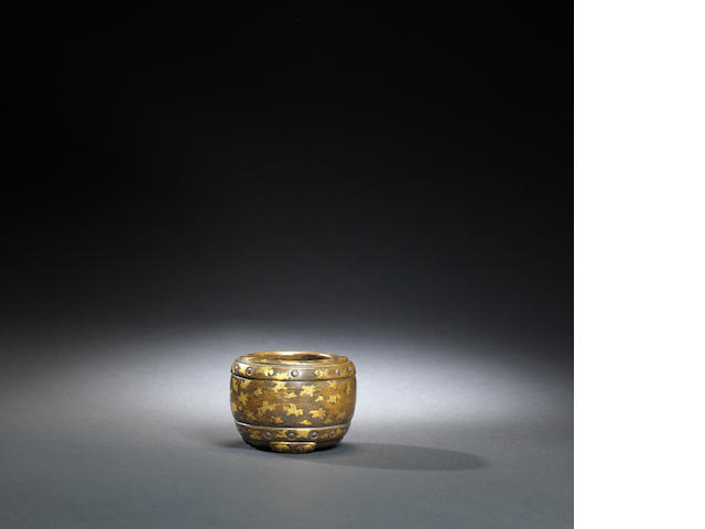 A bronze and gold-splashed water coupe Ming dynasty, Xuande seal mark