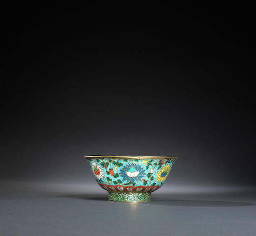 A gilt-bronze and cloisonne-enamelled 'lotus' bowl Yuan dynasty