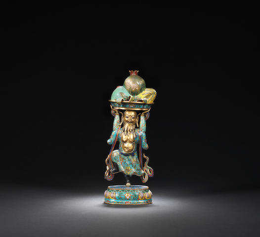 A gilt-bronze and cloisonne-enamelled 'fruit offerings' figure Qing dynasty