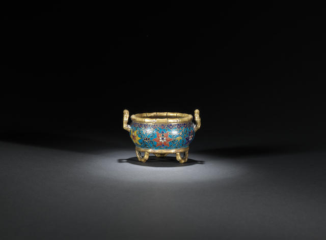 A gilt-bronze and cloisonné-enamelled 'bamboo' incense burner Kangxi