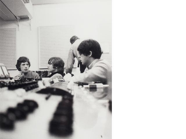 Robert Freeman photograph - Jagger and Beatles in studio