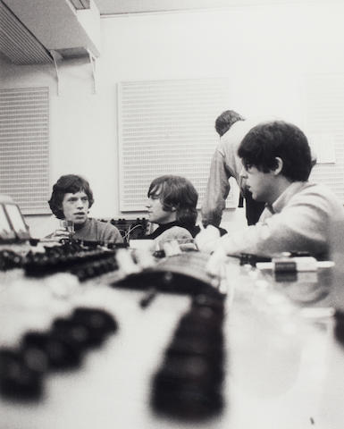 Robert Freeman photograph - Jagger and Beatles in studio