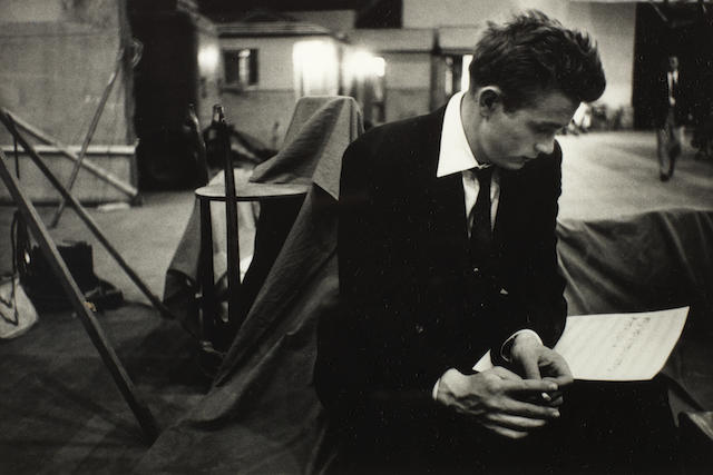 Phil Stern (American, b. 1919): A silver gelatin print of James Dean,
